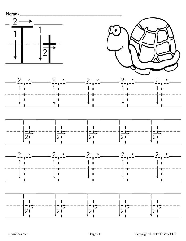 Free Printable Letter T Tracing Worksheet With Number And in Tracing Letters With Arrows