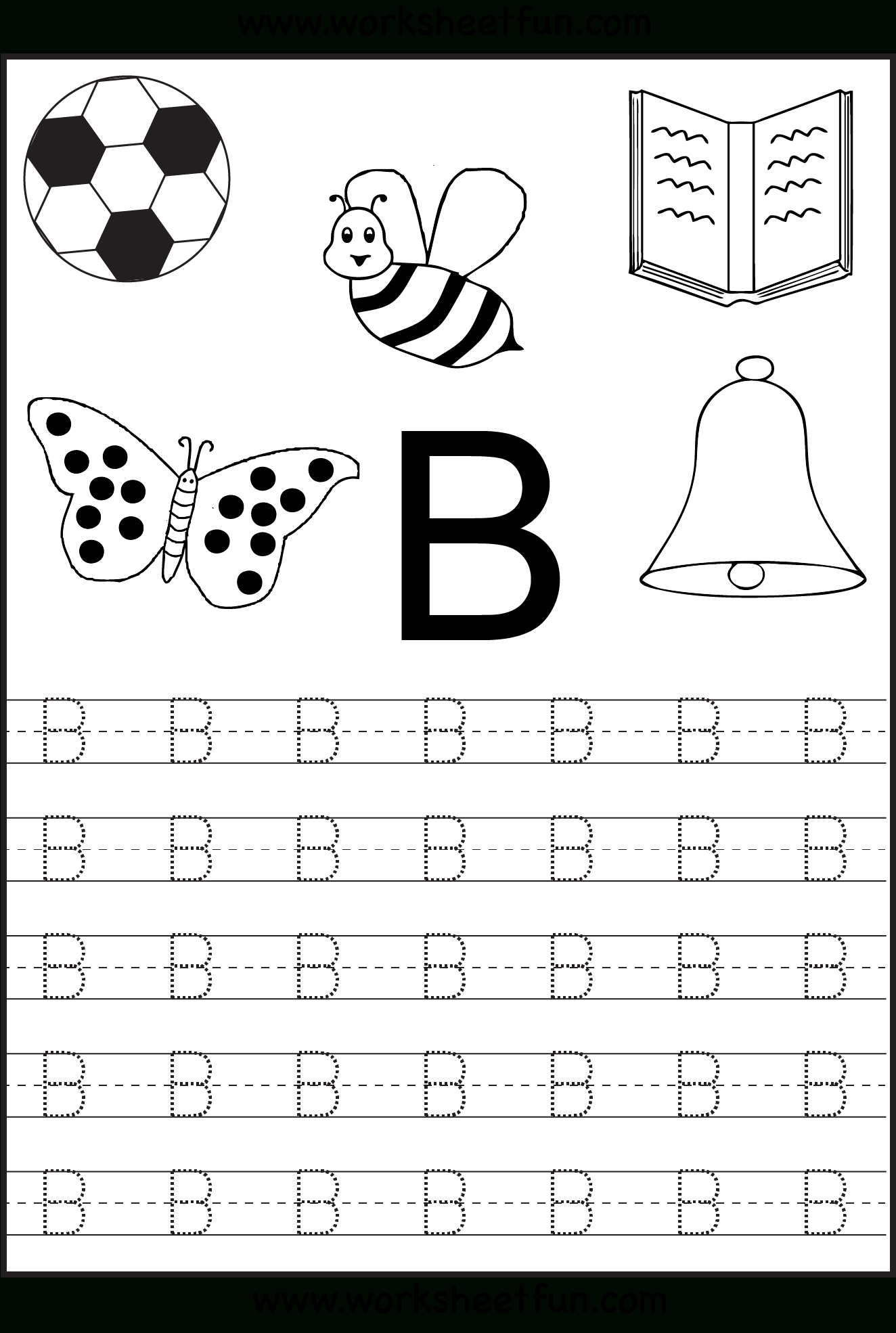 Free Printable Letter Tracing Worksheets For Kindergarten for Trace Letter B Worksheets Preschool