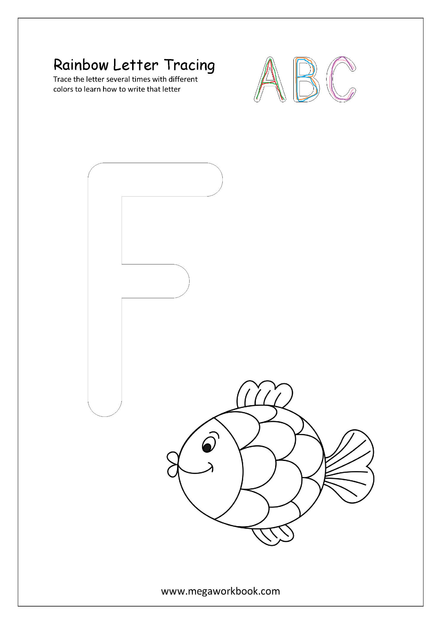 Free Printable Rainbow Writing Worksheets - Rainbow Letter intended for Rainbow Tracing Letters