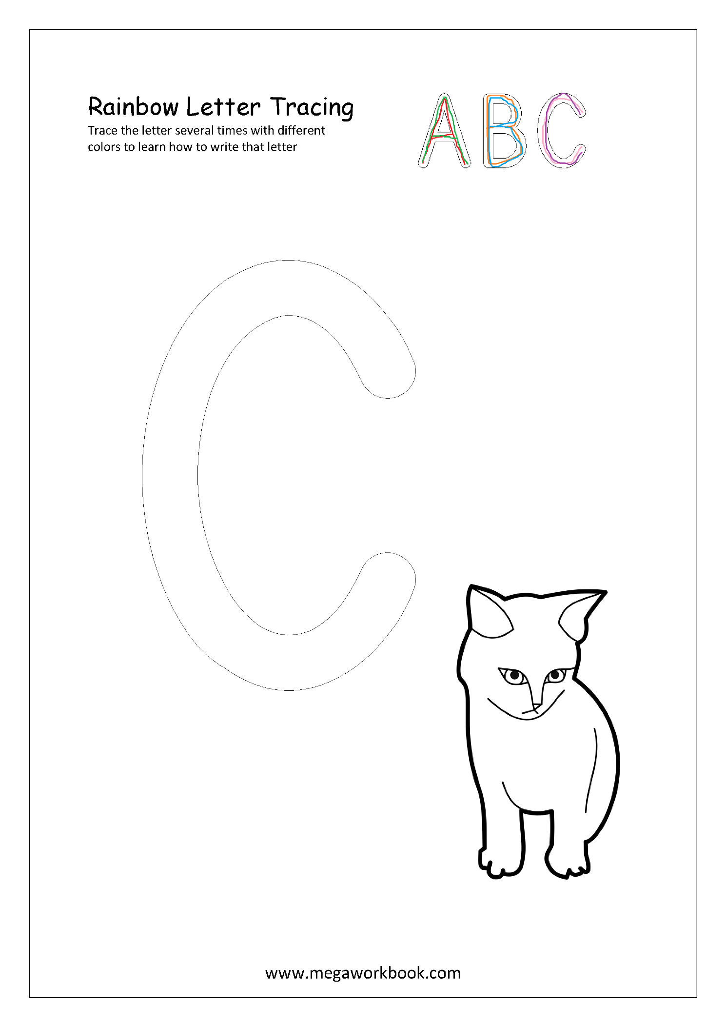 Free Printable Rainbow Writing Worksheets - Rainbow Letter with regard to Rainbow Tracing Letters