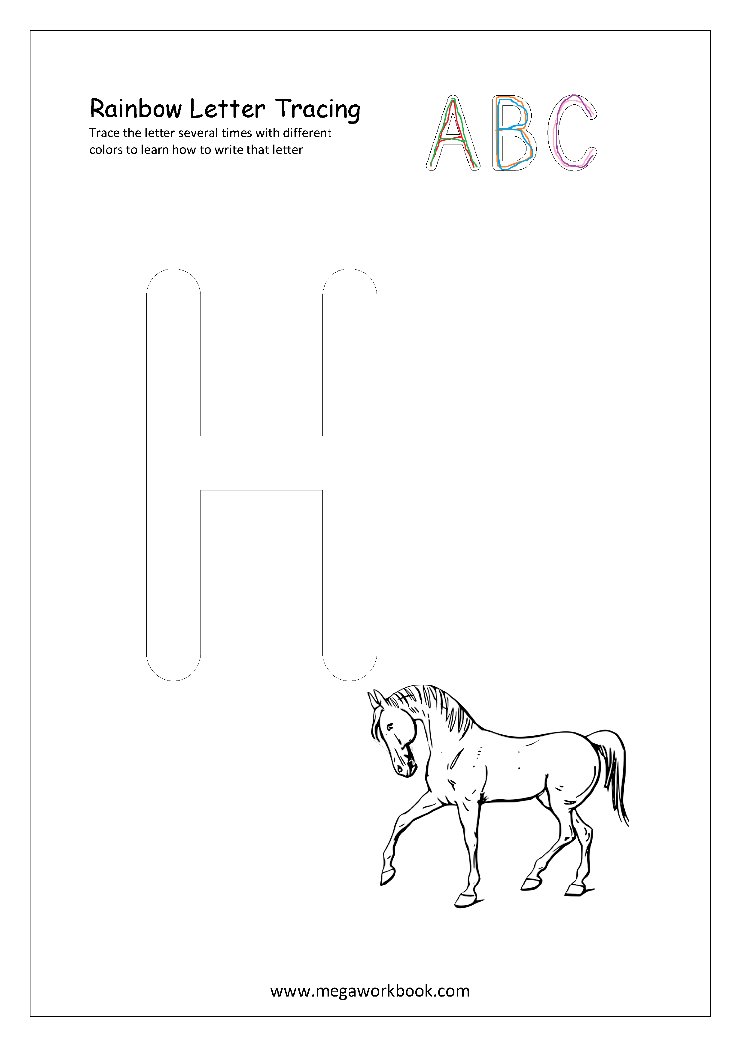 Free Printable Rainbow Writing Worksheets - Rainbow Letter within Rainbow Tracing Letters