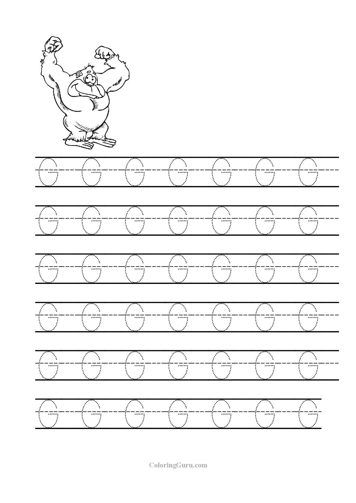 Free Printable Tracing Letter G Worksheets For Preschool for G Letter Tracing Worksheet
