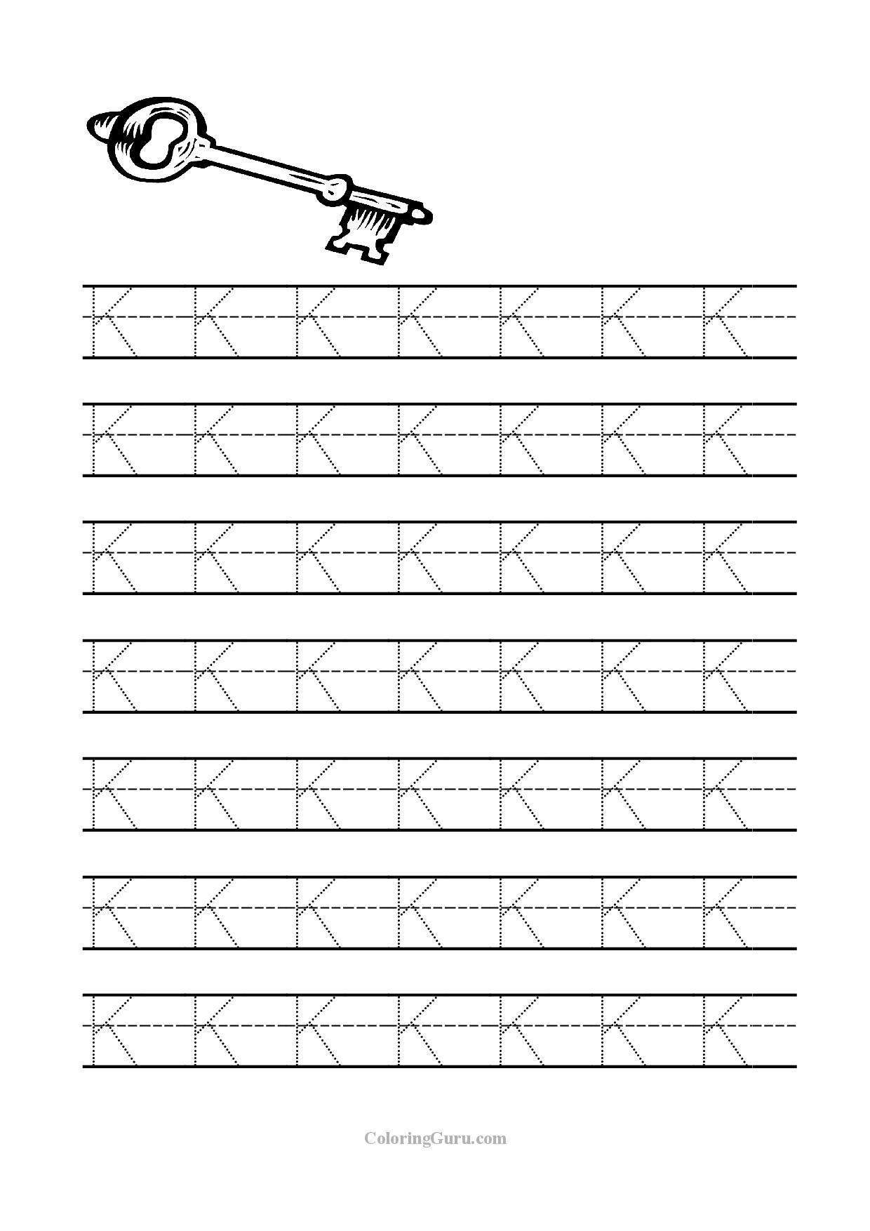 Free Printable Tracing Letter K Worksheets For Preschool regarding Tracing Letter K Worksheets