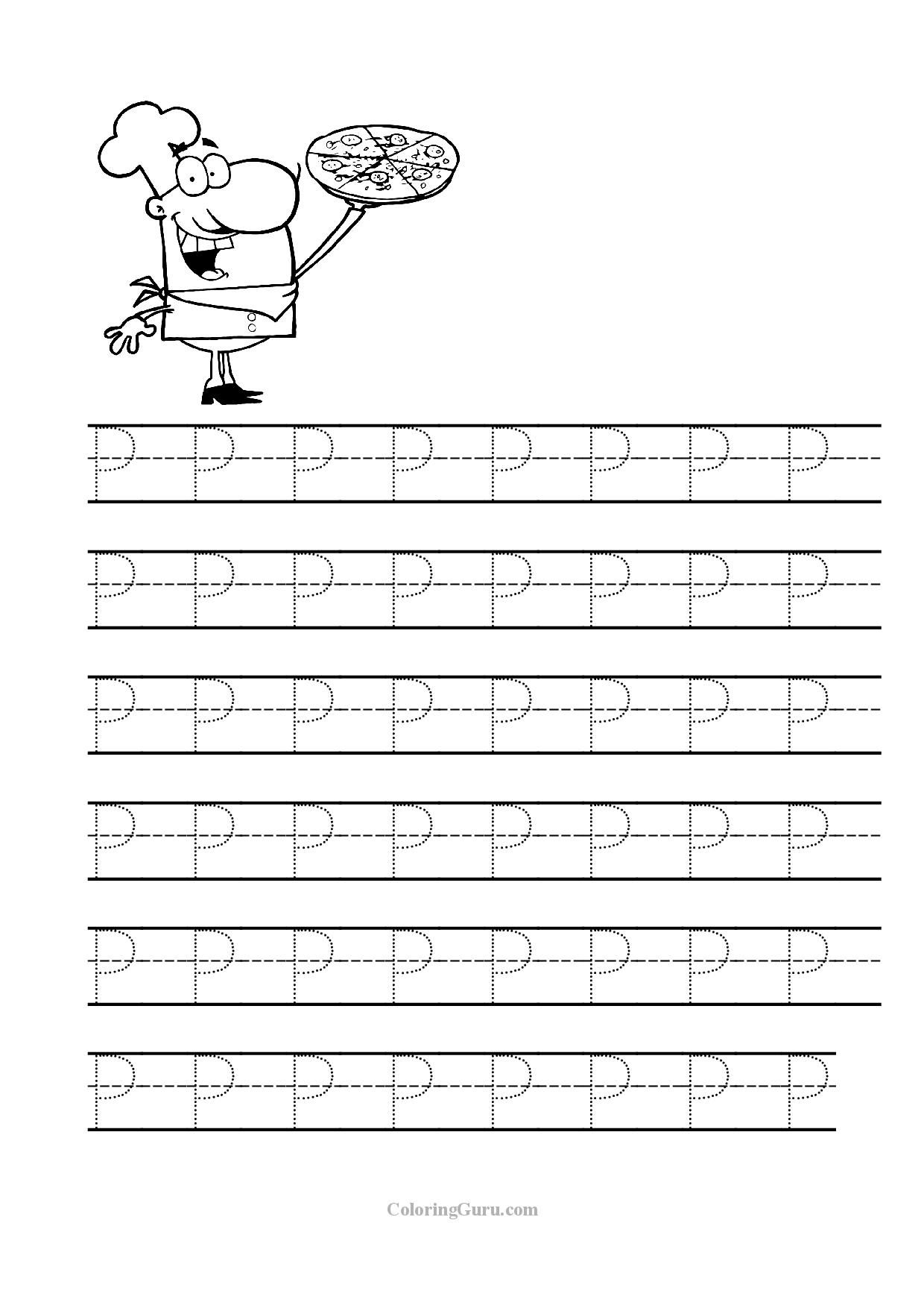 Free Printable Tracing Letter P Worksheets For Preschool for Letter Tracing Worksheets For Preschoolers Free