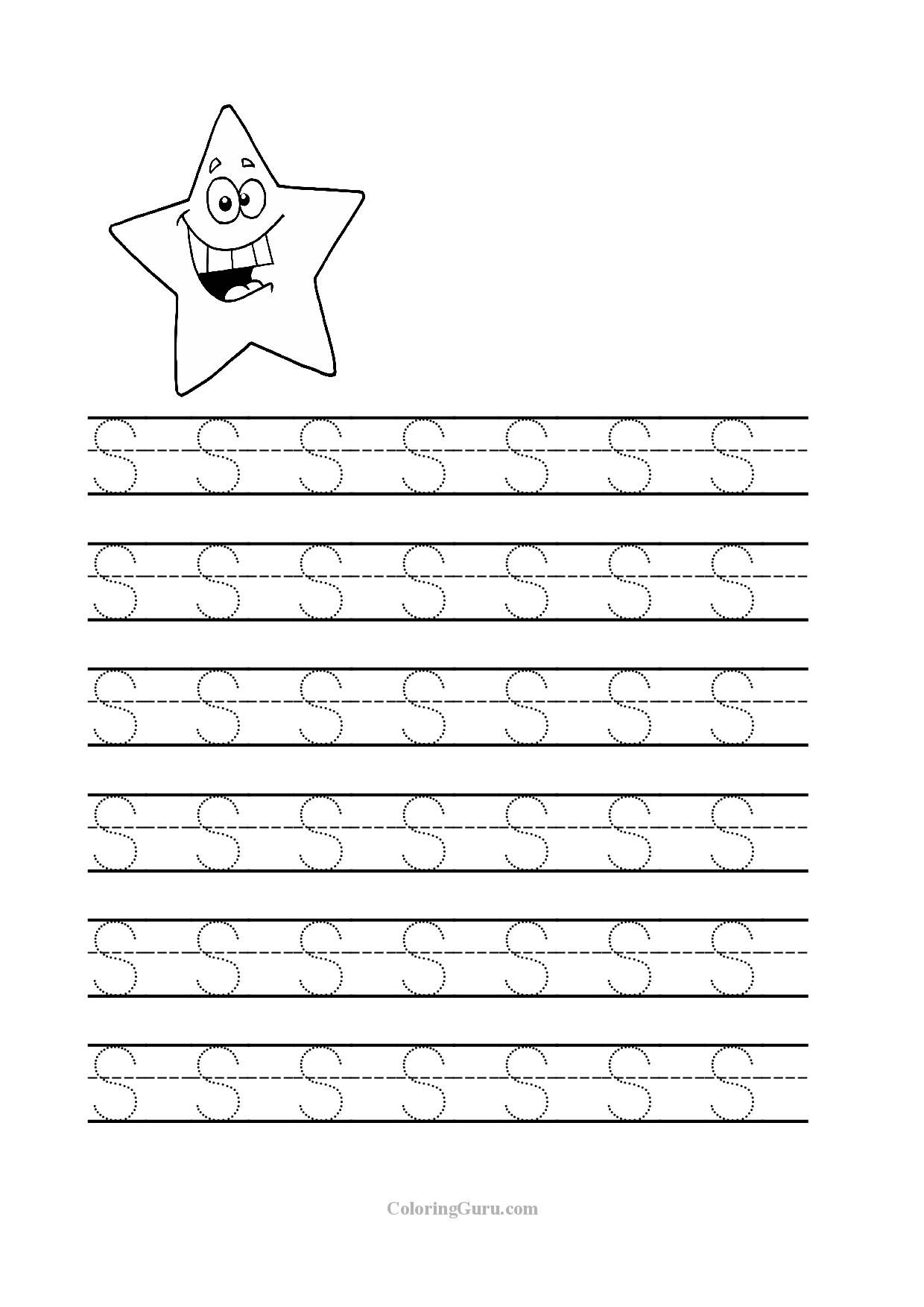Free Printable Tracing Letter S Worksheets For Preschool throughout Tracing Letters For Kindergarten