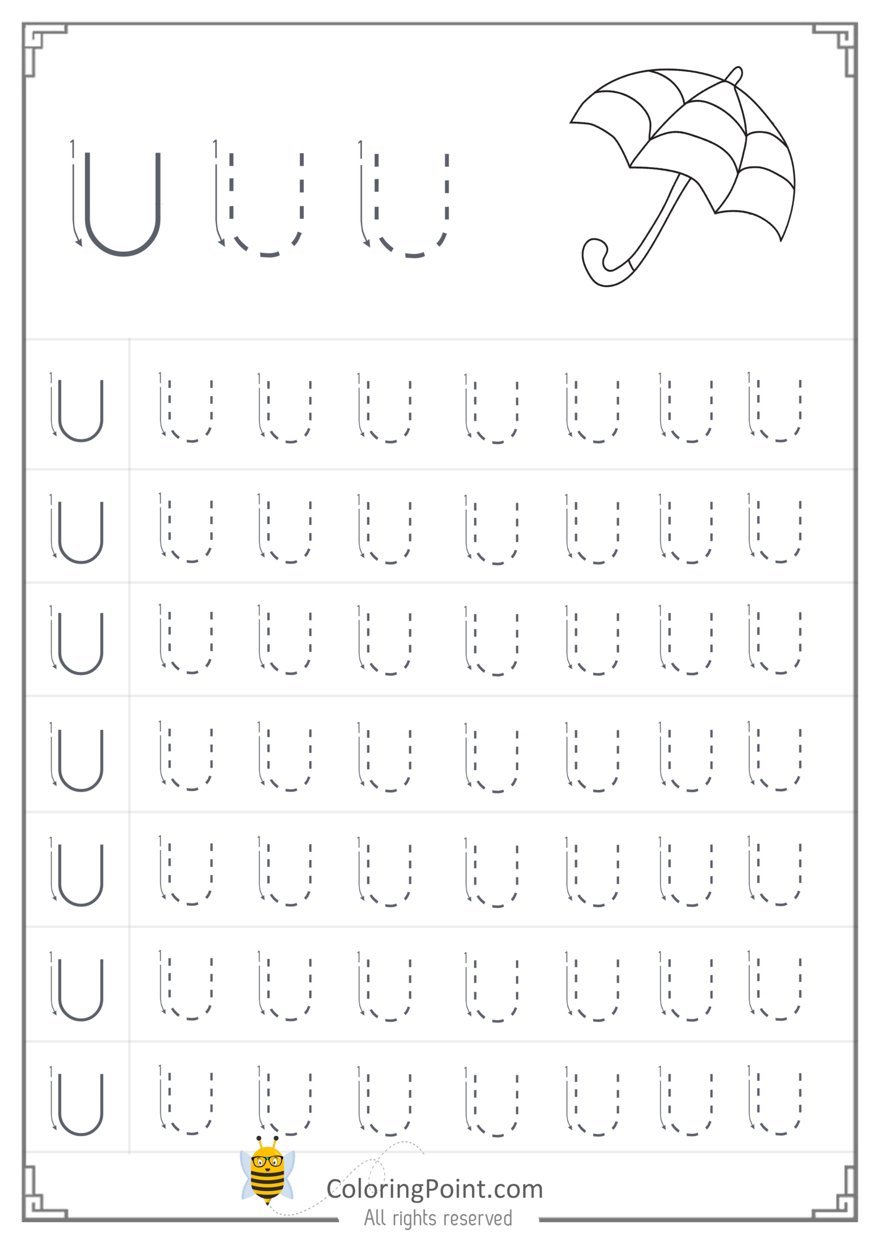 Free Printable Tracing Letter U Worksheets Preschool for Tracing Letter Worksheets Preschool Free