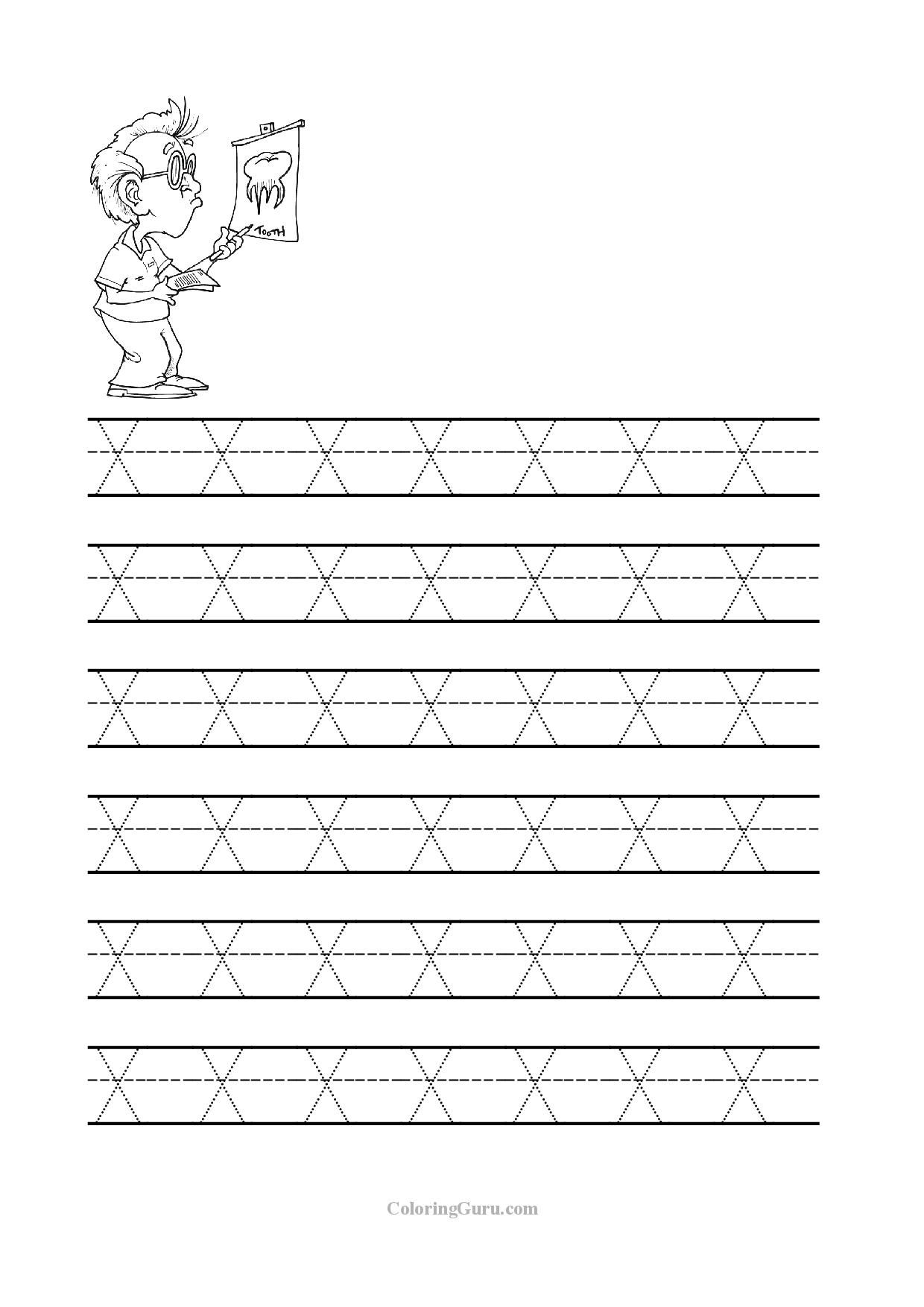 Free Printable Tracing Letter X Worksheets For Preschool intended for Tracing Letter X Worksheets