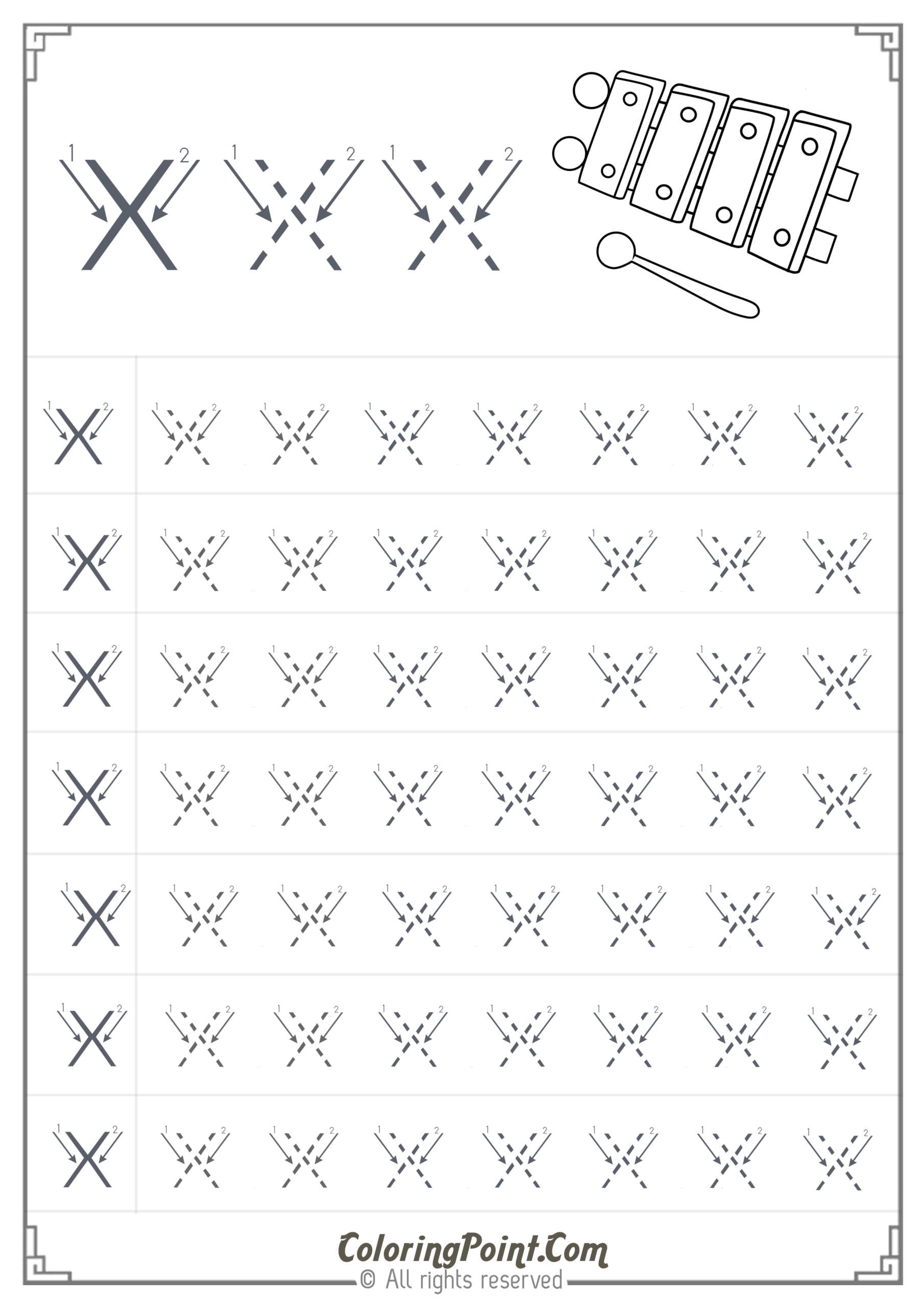 Free Printable Tracing Letter X Worksheets For Preschool regarding Tracing Letter X Worksheets