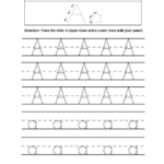 Free Tracing Letters Worksheet | Printable Worksheets And with regard to Trace Letter A Worksheets Free