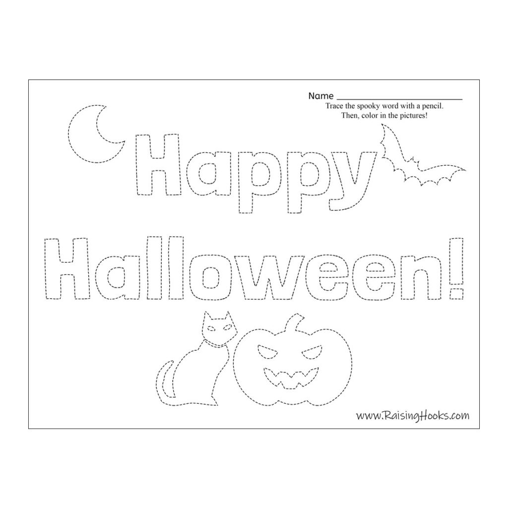 Halloween Tracing Worksheets - Raising Hooks within Halloween Tracing Letters