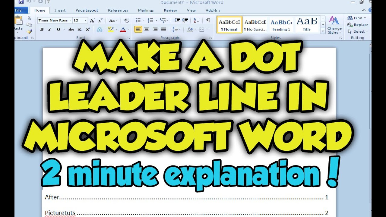 How To Create A Dot Leader Line In Microsoft Word 2010 - Dot Leader Line  Word 2010 / 2007 Tutorial pertaining to How To Make Tracing Letters In Word