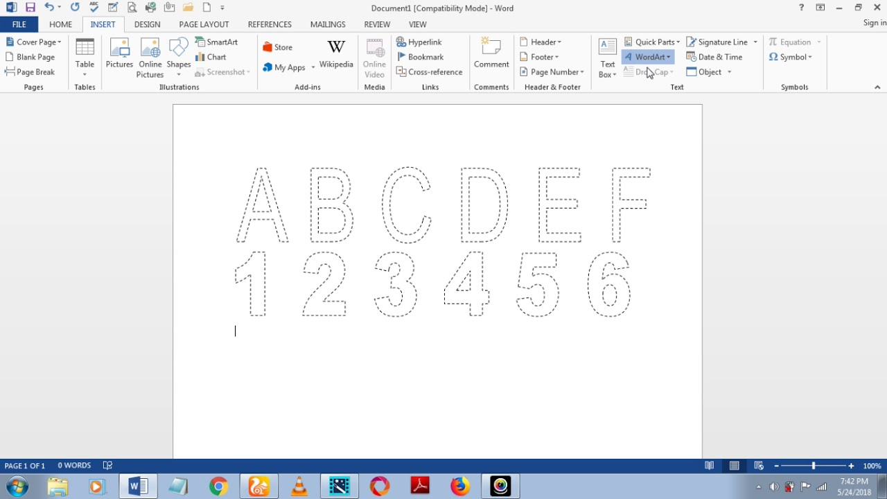 How To Make Dashed Letters And Number Tracing In Microsoft for Dash Letters For Tracing