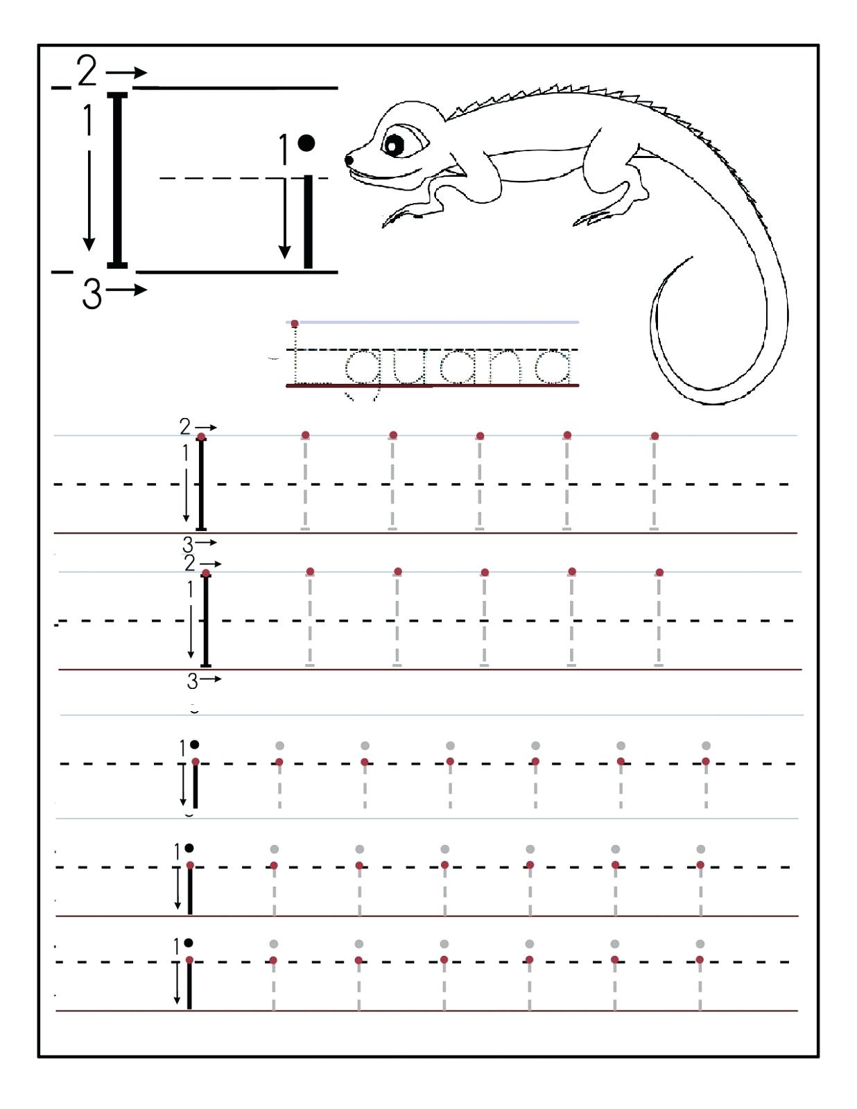 I Worksheet Letter I Worksheet Iguana Worksheet Maker Lite within Tracing Letters Maker