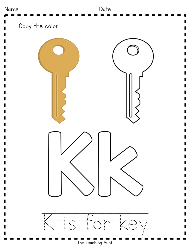 K Is For Key: Paper Pasting Activity | Letter Worksheets For with Tracing And Copying Letters Worksheets