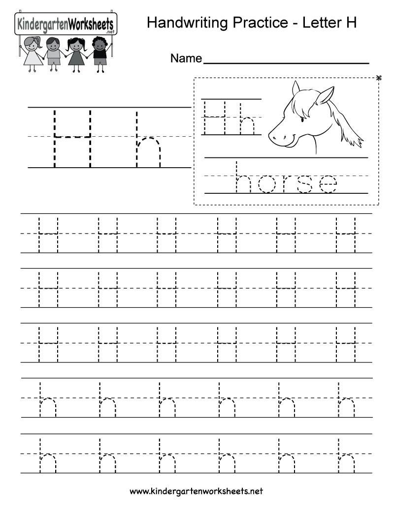 Kids Orksheets Letter H Riting Practice Orksheet Free inside Tracing Letter H Worksheets