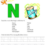 Kids Under 7: Alphabet Worksheets.trace And Print Letter N in Tracing Letters And Words
