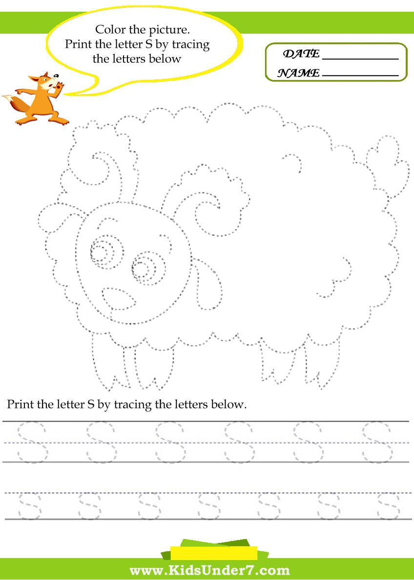 Kids Under 7: Alphabet Worksheets.trace And Print Letter S with regard to Tracing Letters Child's Name