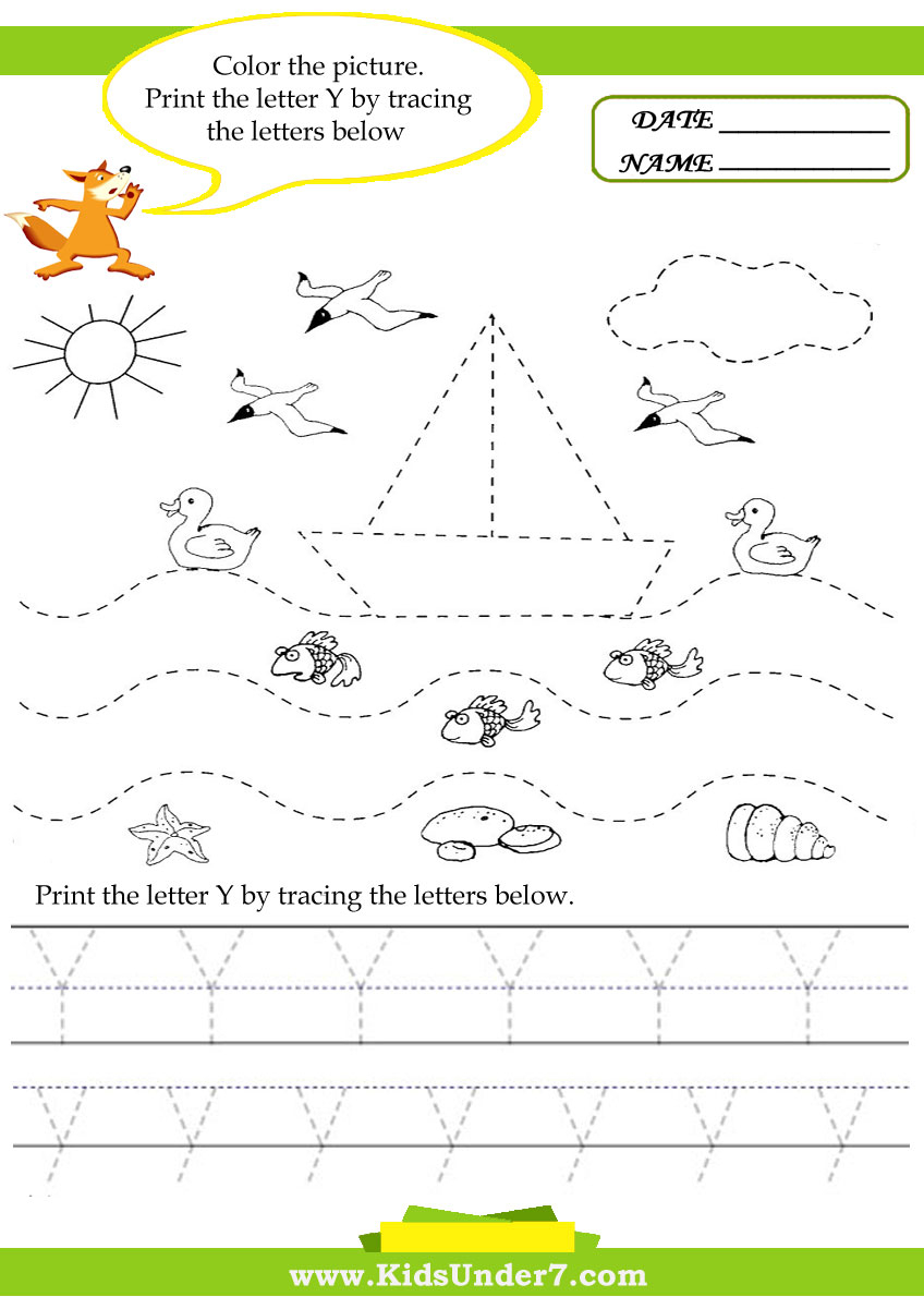 Kids Under 7: Alphabet Worksheets. Trace And Print Letter Y with regard to Tracing Letter Y Worksheets