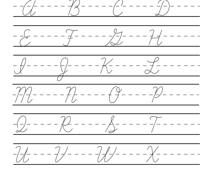 Kindergarten Cursive Handwriting Worksheet Printable with regard to Practice Tracing Cursive Letters