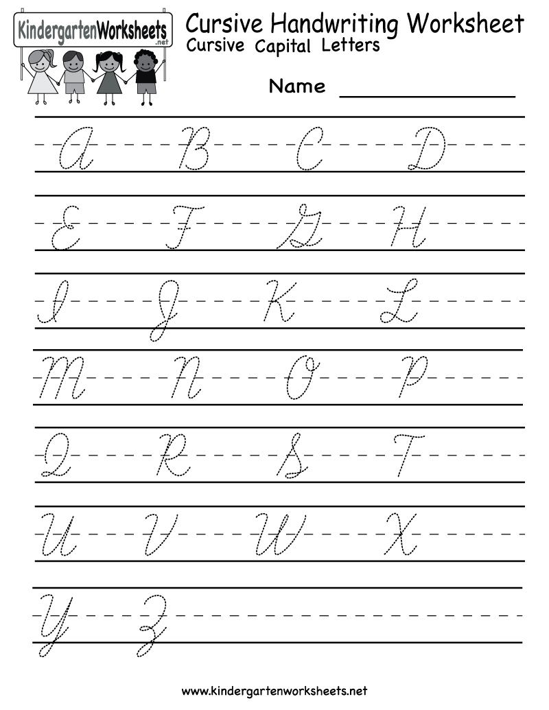 Kindergarten Cursive Handwriting Worksheet Printable with Tracing Cursive Letters Pdf