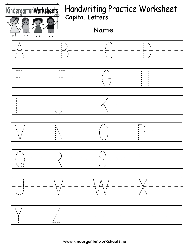 Kindergarten Handwriting Practice Worksheet Printable in Practice Tracing Letters For Kindergarten