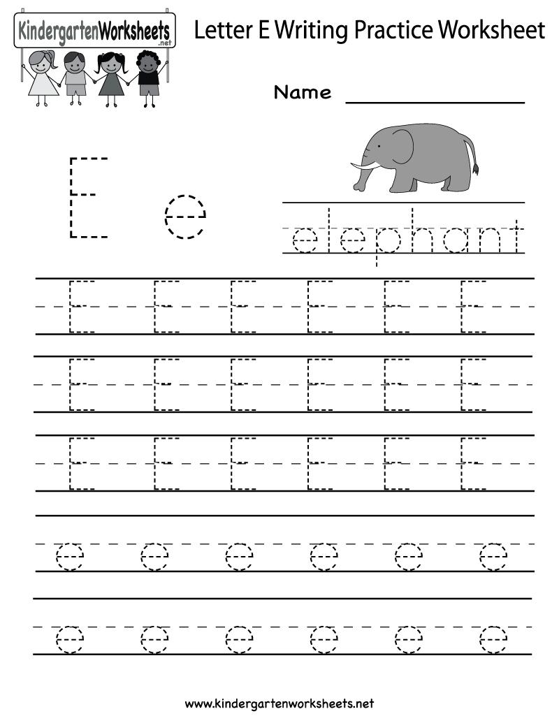 Kindergarten Letter E Writing Practice Worksheet Printable inside E Letter Tracing Worksheet