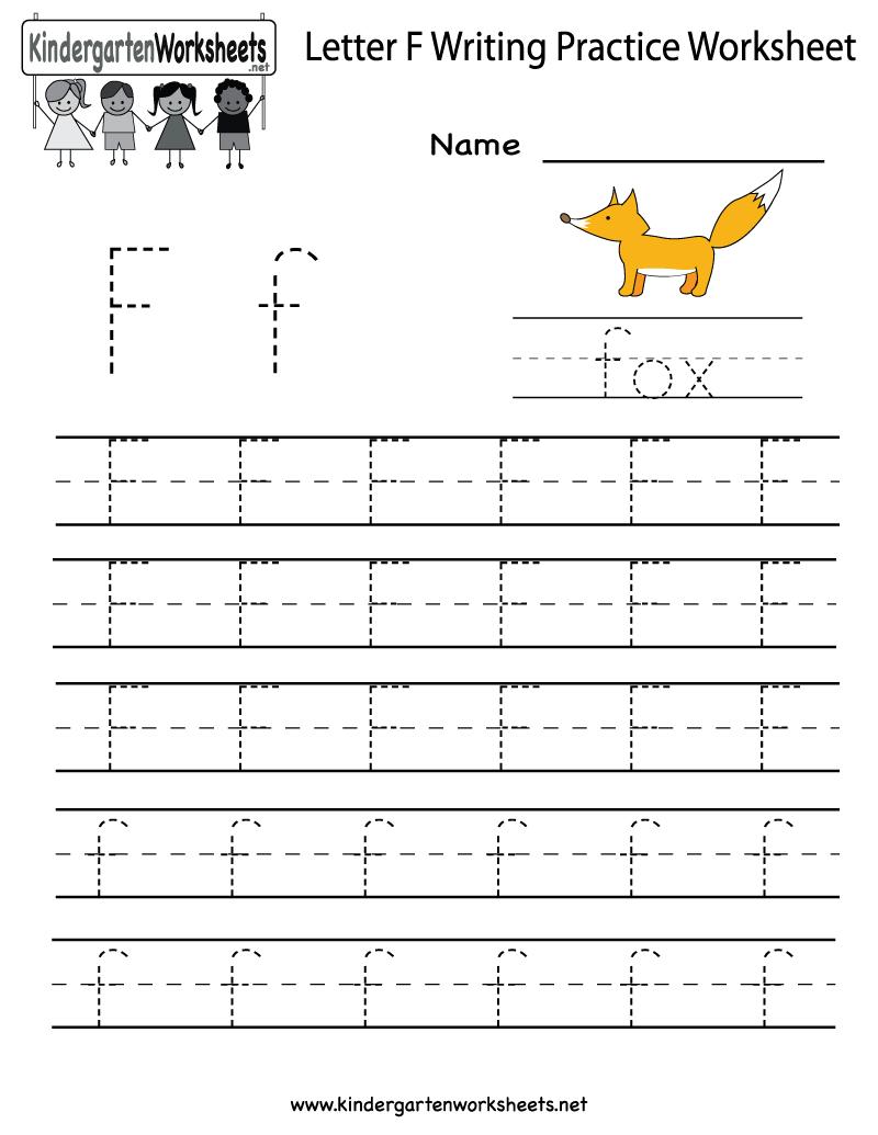 Kindergarten Letter F Writing Practice Worksheet Printable with Tracing Letter F Worksheets