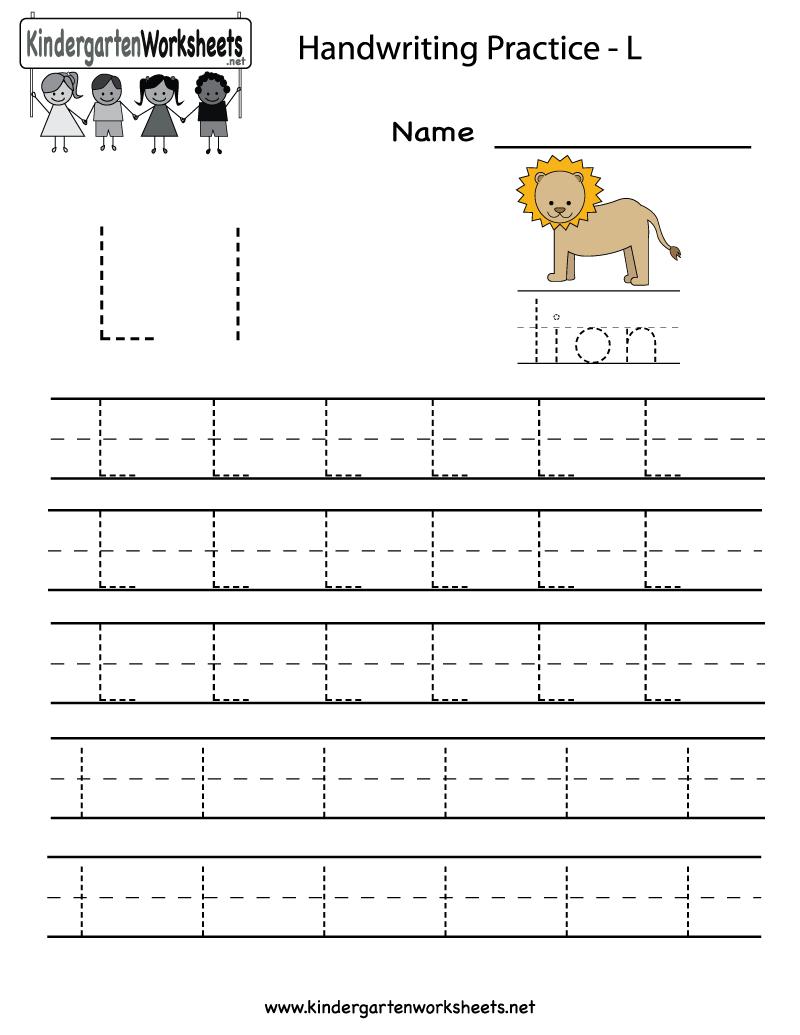 Kindergarten Letter L Writing Practice Worksheet Printable regarding Tracing Letter L Worksheets For Kindergarten