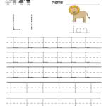Kindergarten Letter L Writing Practice Worksheet Printable within Tracing Letter L Worksheets