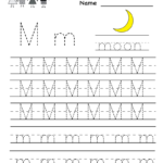 Kindergarten Letter M Writing Practice Worksheet Printable with regard to Tracing Letter M Worksheets