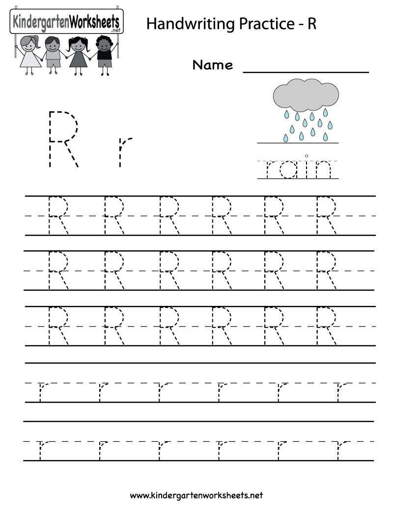 Kindergarten Letter R Writing Practice Worksheet Printable regarding Tracing Letter R Worksheets