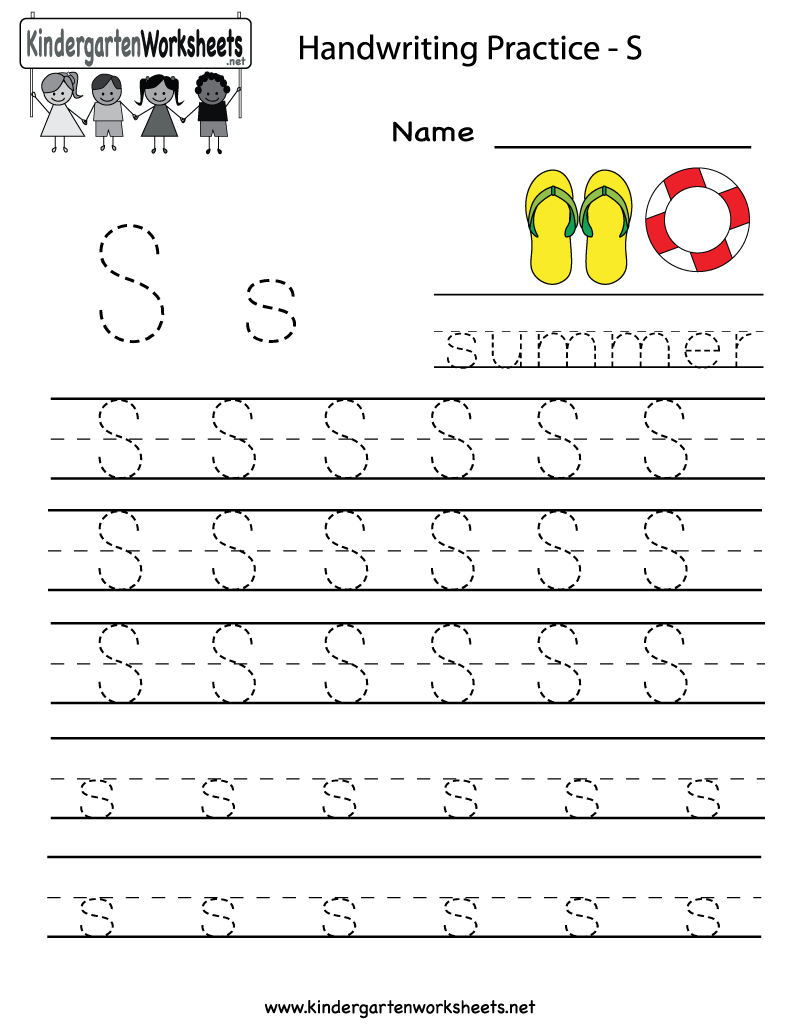 Kindergarten Letter S Writing Practice Worksheet Printable inside S Letter Tracing Worksheet