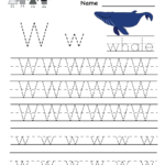 Kindergarten Letter W Writing Practice Worksheet Printable pertaining to Tracing Letter W Worksheets