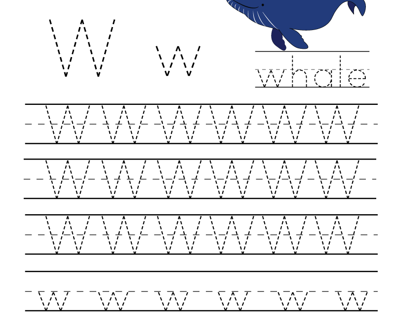 Kindergarten Letter W Writing Practice Worksheet Printable within Practice Tracing Letters Worksheets