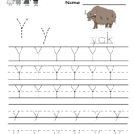 Kindergarten Letter Y Writing Practice Worksheet Printable regarding Tracing Letter Y Worksheets