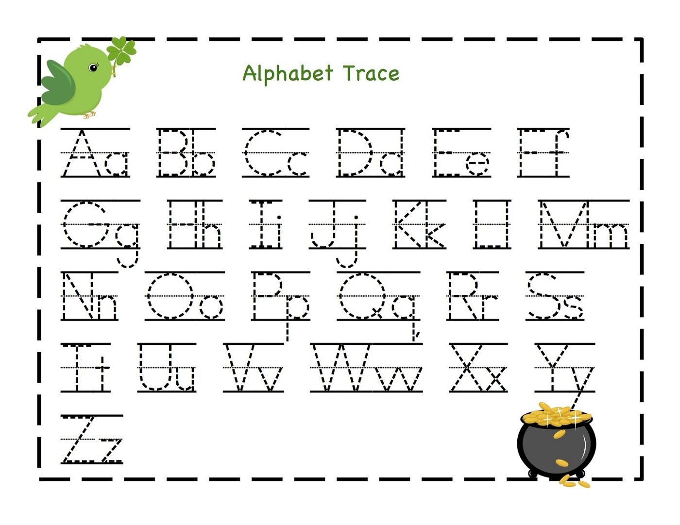 Kindergarten Worksheets Alphabet Pdf. Letters Sequences intended for Tracing Letters Pdf Free