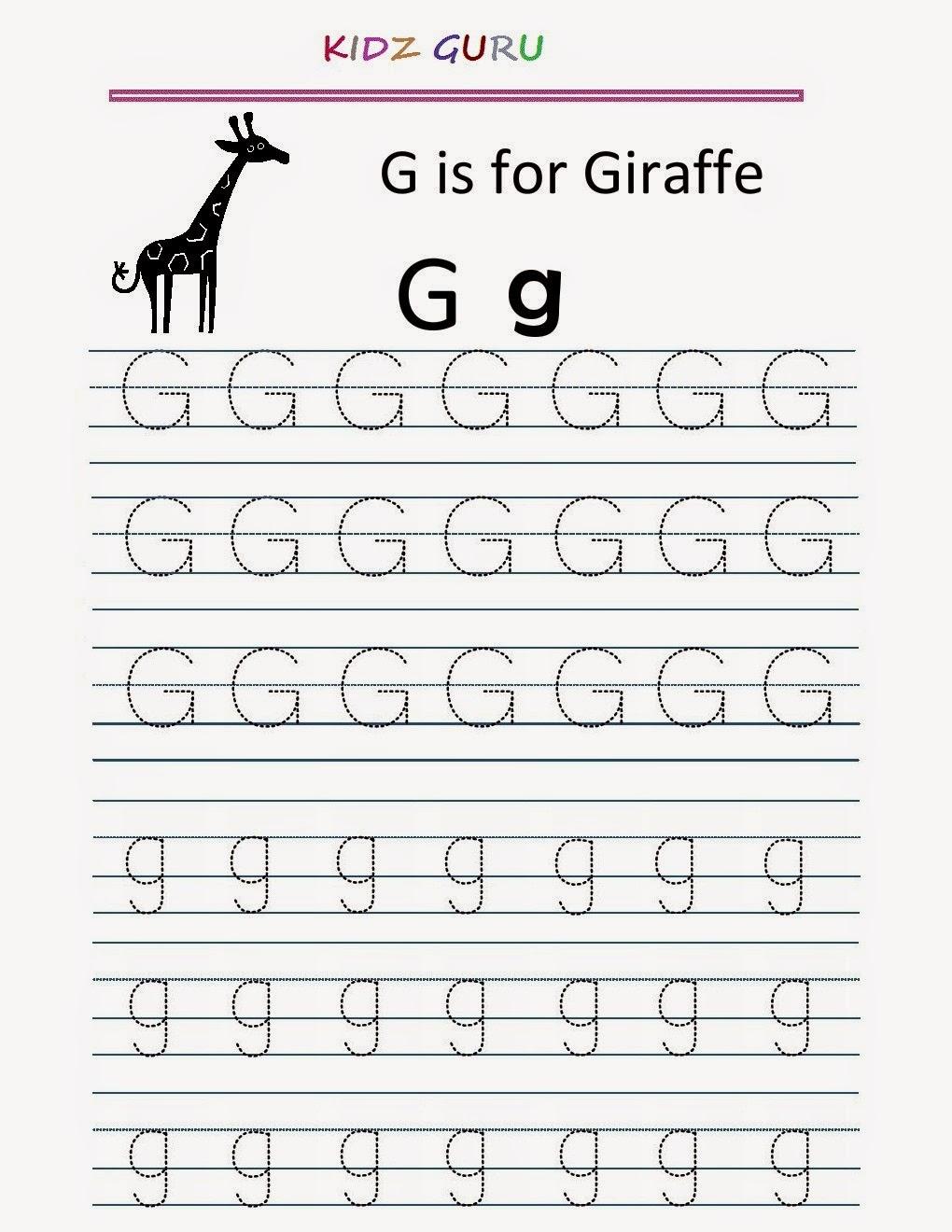 Kindergarten Worksheets: Printable Tracing Worksheet in G Letter Tracing Worksheet