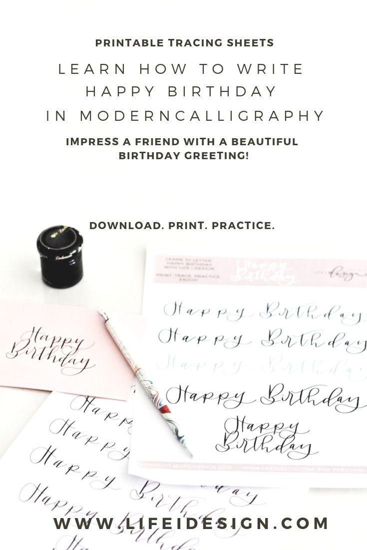 "Learn How To Write ""happy Birthday"" In Modern Calligraphy with Happy Birthday Tracing Letters"