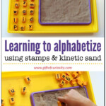 Learning To Alphabetize Using Stamps And Kinetic Sand in Tracing Letters In Sand