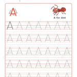 Letter A Alphabet Tracing Book With Example And Funny Ant Insect.. with regard to Practice Tracing Letters Preschool