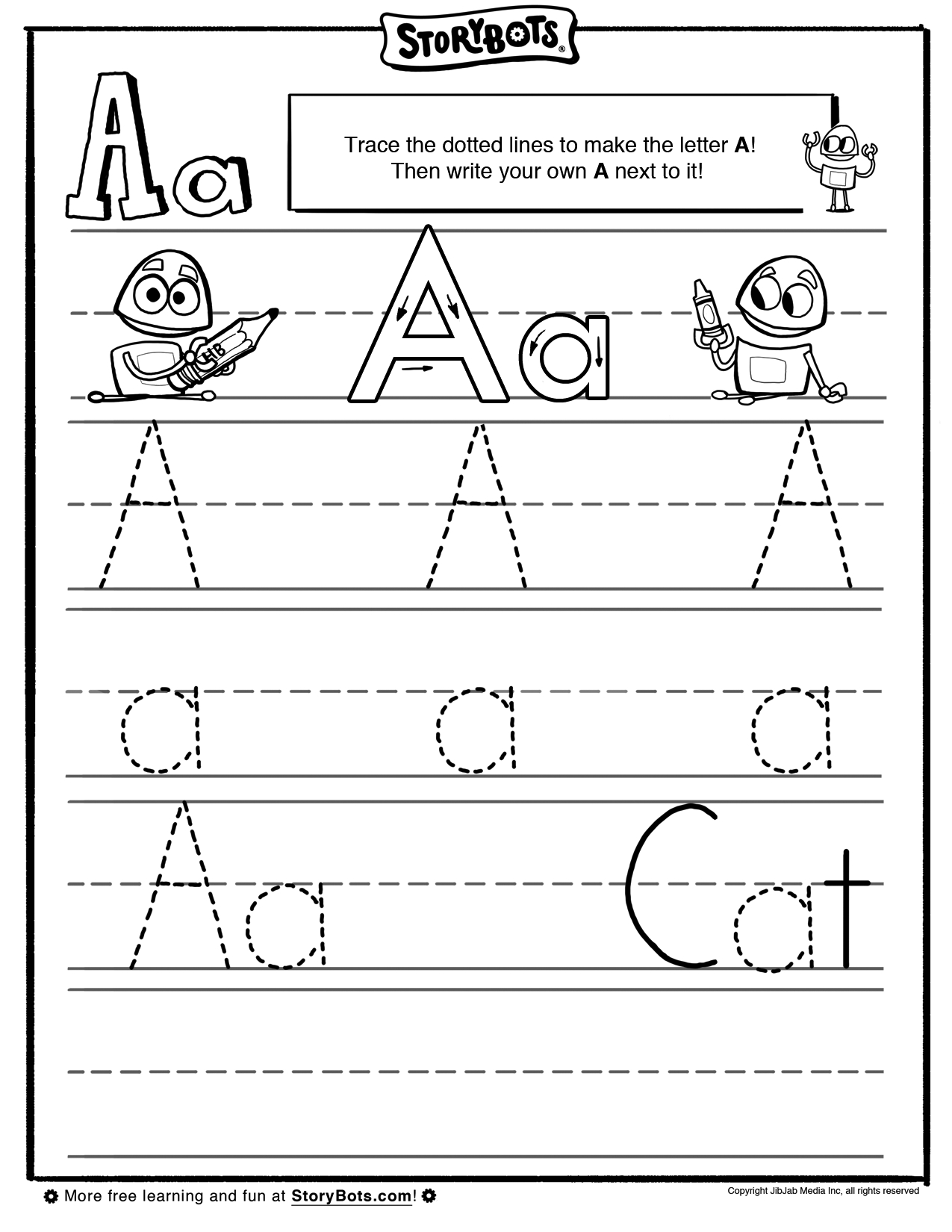 Letter A Tracing Sheet - Abc Activity Sheets - Storybots with Tracing Letters Make Your Own