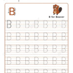 Letter B Alphabet Tracing Book With Example And Funny Beaver.. in Trace Letter B Worksheets Preschool