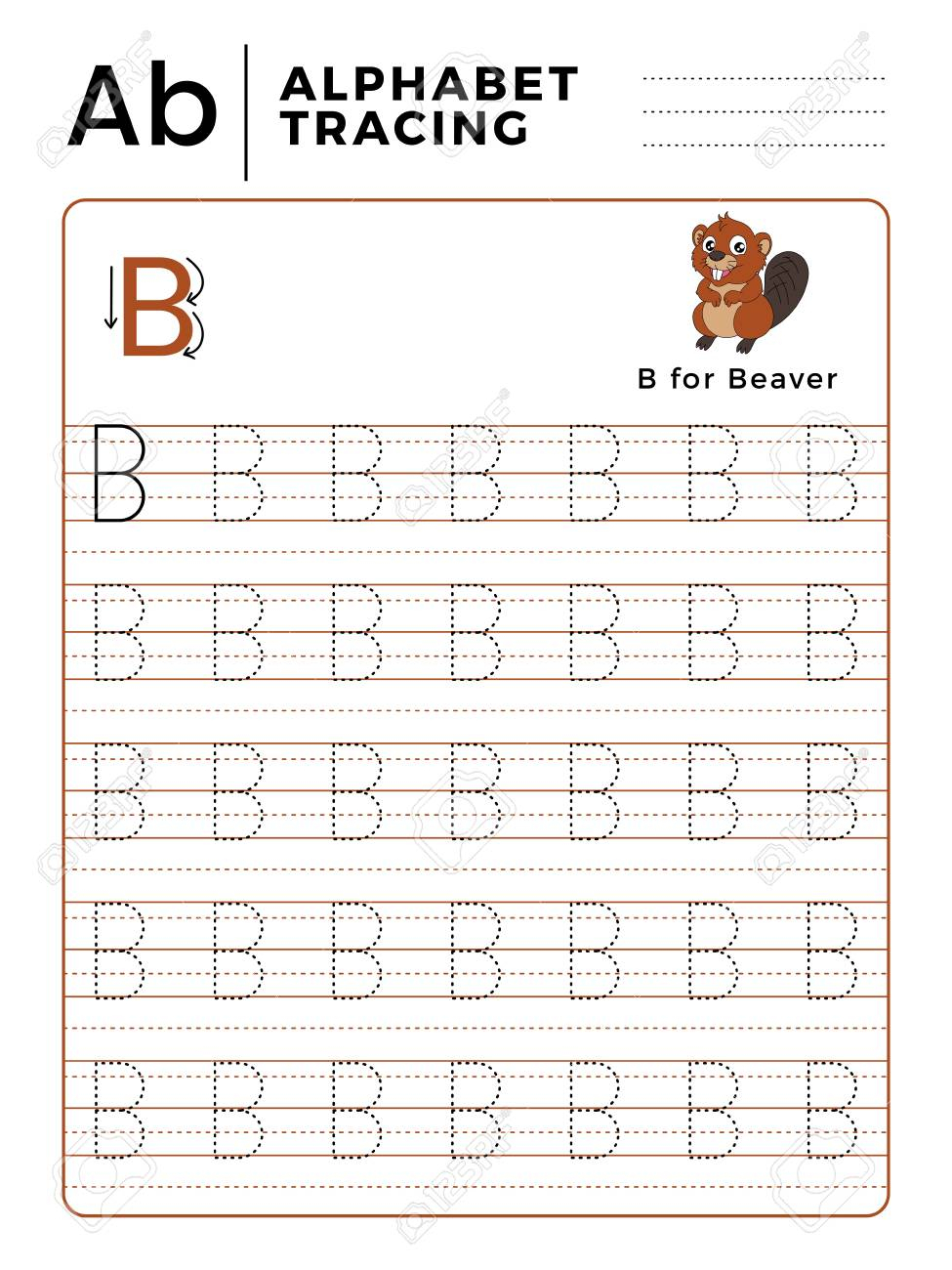 Letter B Alphabet Tracing Book With Example And Funny Beaver.. throughout Tracing Letter B Worksheets