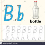 Letter B Tracing Alphabet Worksheets Illustration Stock intended for Trace Letter B Worksheets Preschool