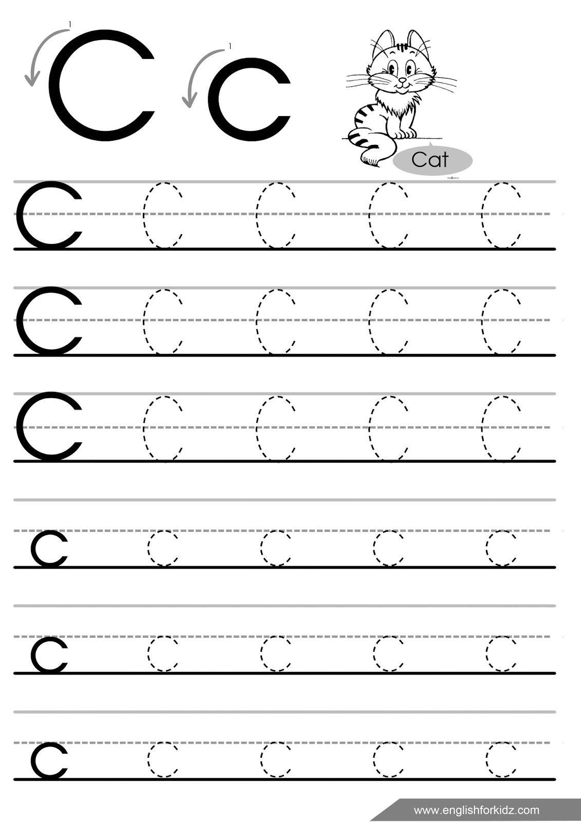 Letter C Tracing Worksheet For Esl Teachers   Letter Tracing pertaining to C Letter Tracing Worksheet