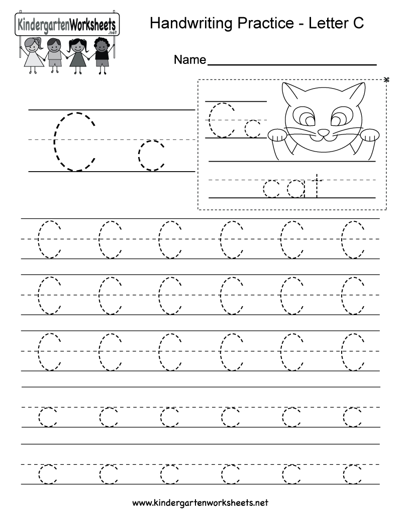Letter C Writing Practice Worksheet - Free Kindergarten with C Letter Tracing Worksheet