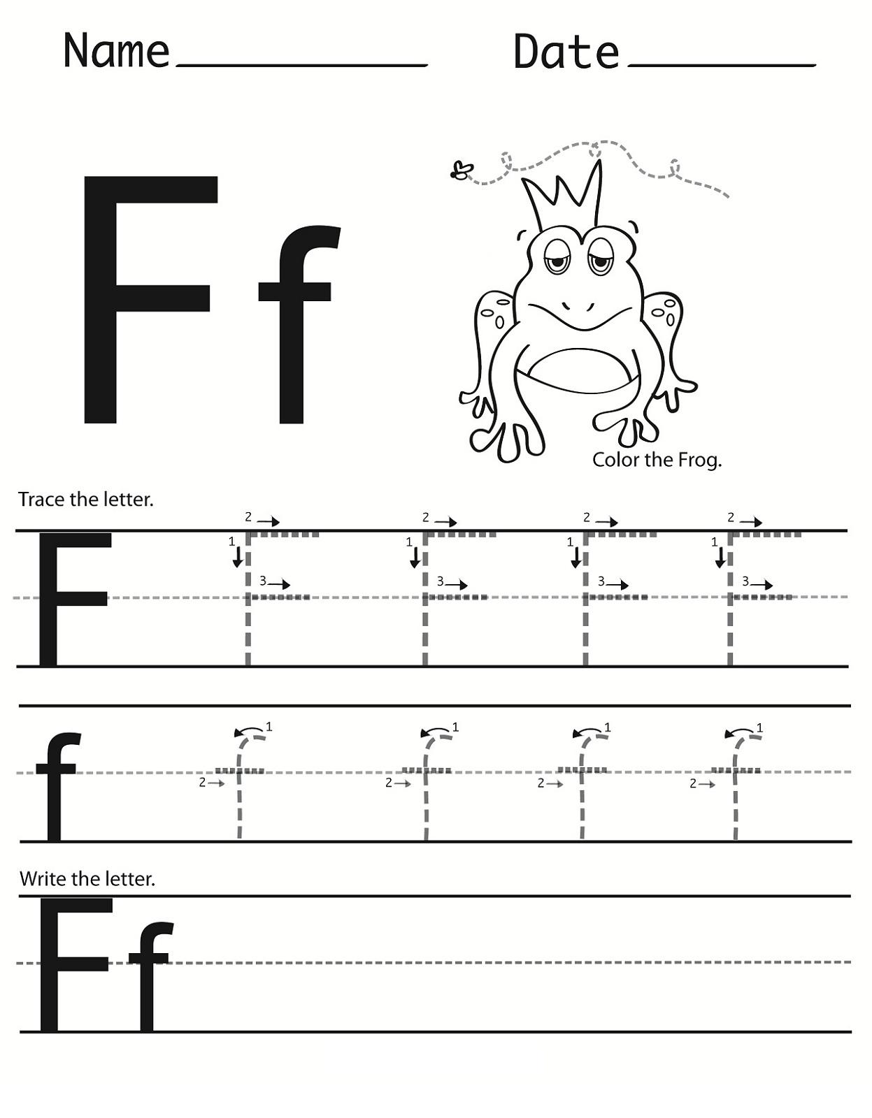 Letter F Worksheet For Preschool And Kindergarten | Activity within Tracing Letter F Worksheets