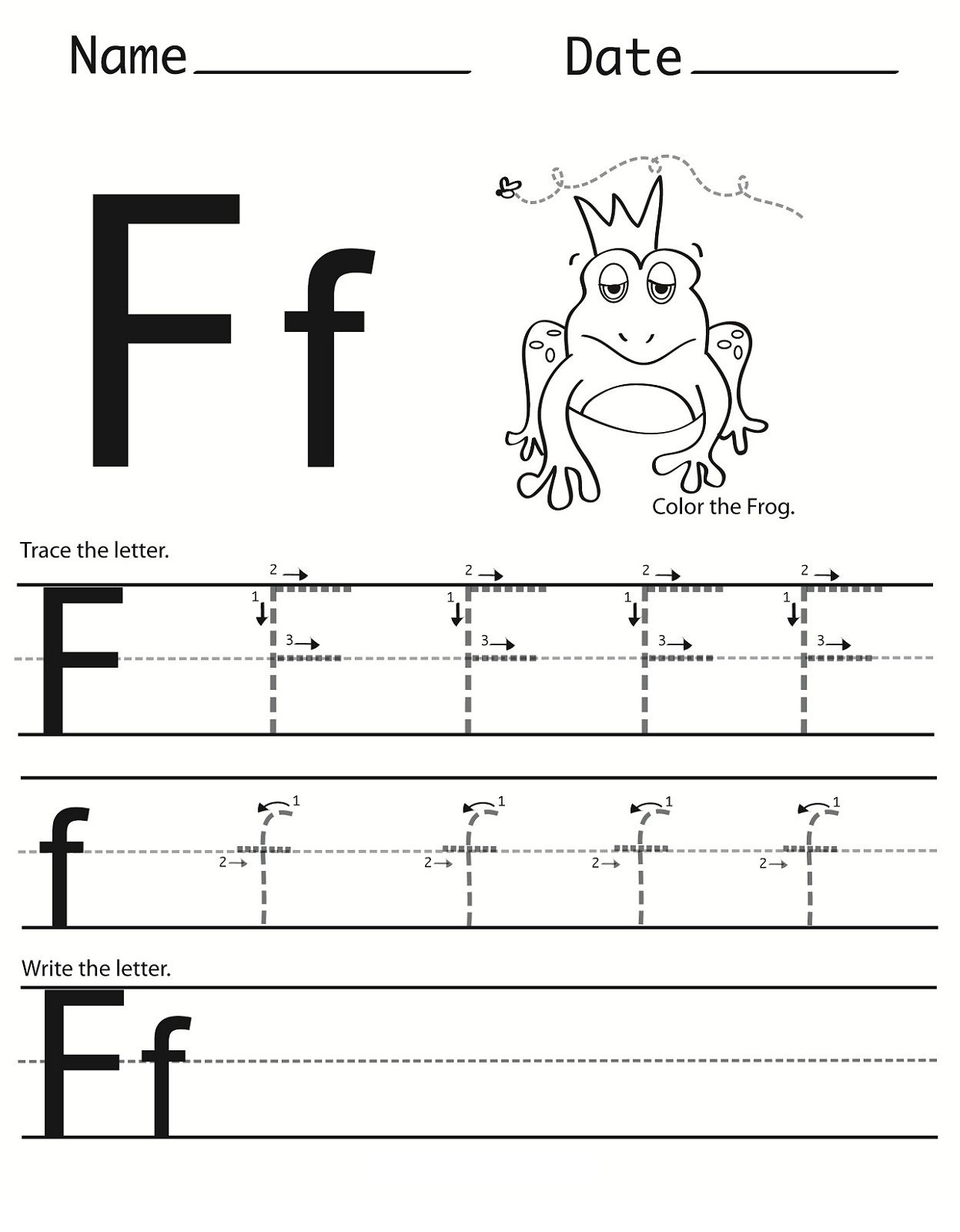Letter F Worksheet For Preschool And Kindergarten with regard to Tracing Letter F Worksheets Preschool
