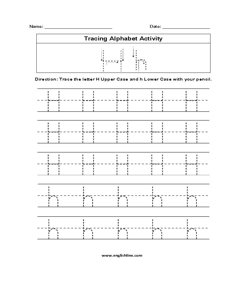 Letter H Tracing Alphabet Worksheets | Alphabet Worksheets with Tracing Letter H Worksheets