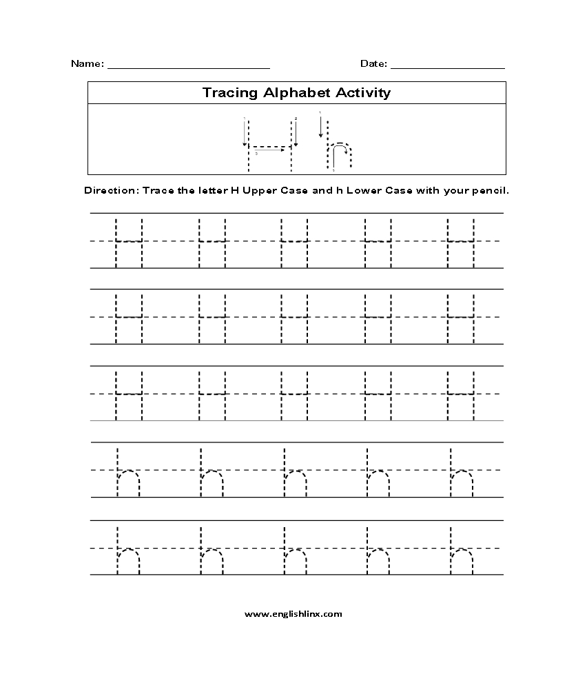Letter H Tracing Alphabet Worksheets | Tracing Letters with Tracing Alphabet Letters Online